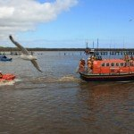 Both lifeboats and the RAF Sea King helicopter put on rescue displays at the event