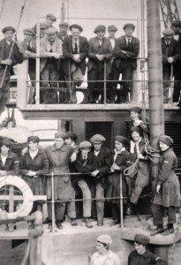 """Shipyard workforce on board """"Cretebow"""", Amble Braid 1919"""