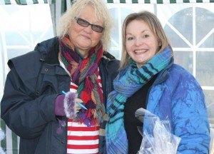Town Councillors Kate Morrison and Jane Dargue at Amble Christmas Fayre