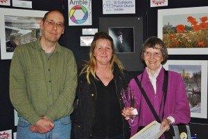 Mark Sunderland and last year's winner Dot Tindale with  2013 People's Choice award winner Joan Robinson