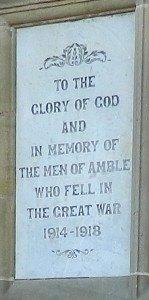 WW1 memorial plaque in Amble Town Square
