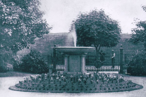 The cemetery fountain, probably shortly after it was installed