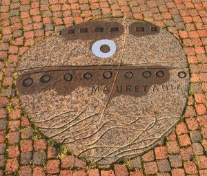 One of the picture stones in Amble Town Square commemorates the conversation between RMS Mauretania and Amble Urban Council