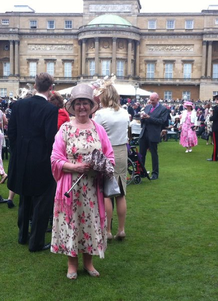 Joan Scott (above) went to the Garden Party with  Julia Aston. Other Amble tea party attendees in June were Paul and Isabel Morrison