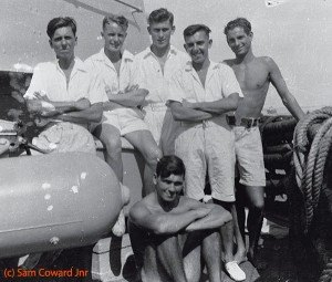 Crewmates on HMS Arethusa: l-r, Stuart Cooper, Ted Mullin, George Woods, Stan Brightman, Pete Pursier, sitting, Sam Coward