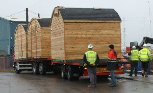 The first Pods arriving at the Harbour Village