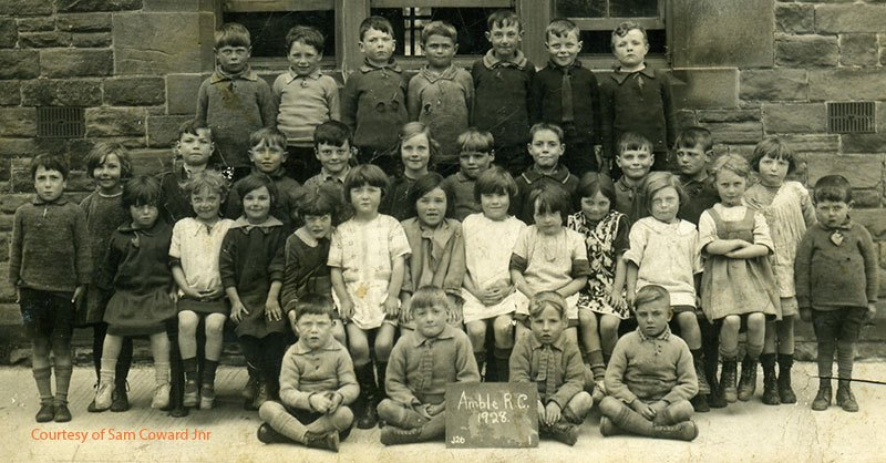 Amble RC schoolchildren 1928. Sam Coward is third from left top row (with holes in his jumper).