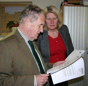 Sir Alan Beith MP and Julie Porksen reading the Tesco announcement