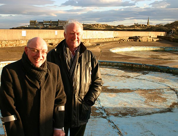 Amble Town Councillors Robert Arckless and Craig Weir at the Paddlers play area.