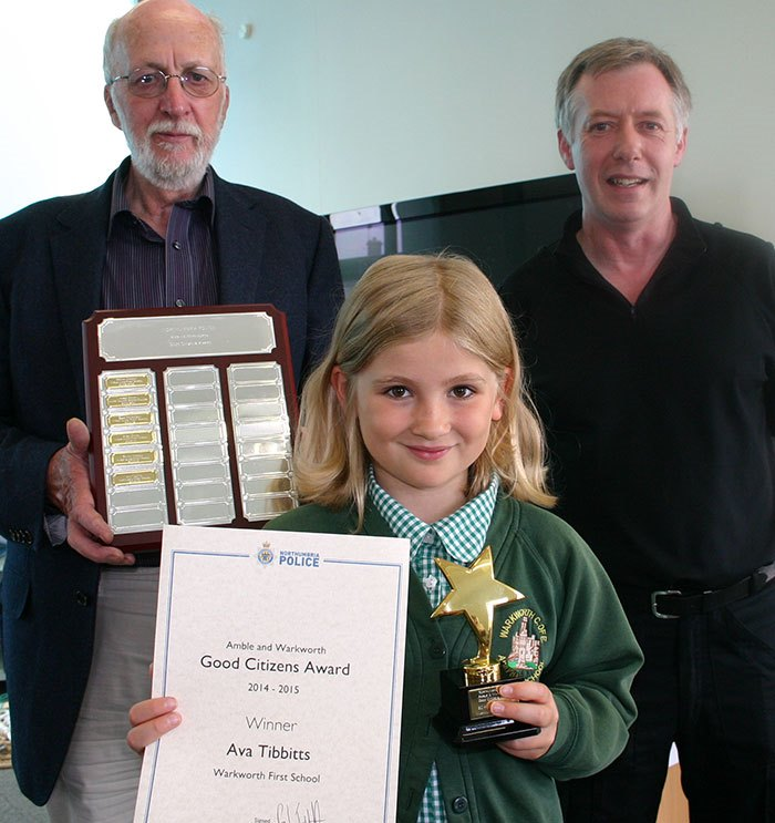 Prof John Hobrough, chair of governors Warkworth First School; Ava Tibbits, CSO Darin Fawcett