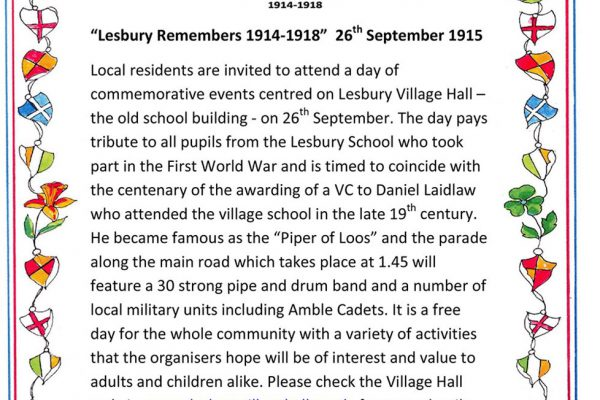 Lesbury Remembers: WW1 commemoration
