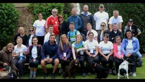 Some of the walkers at the end of the 14 mile coastal fundraiser