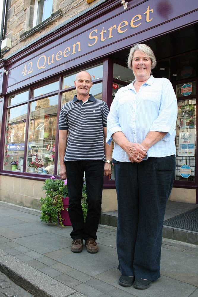 Richard and Ann outside their shop 42 Queen St