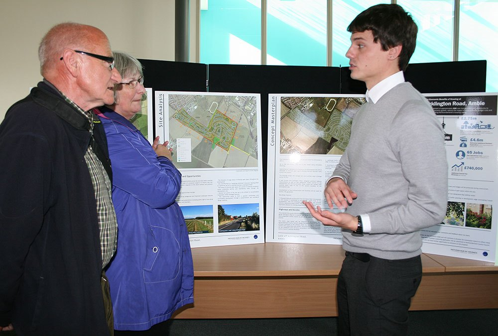 Members of the public met with the planning team including Dominic Crowley of Nathaniel Litchfield & Partners (left)