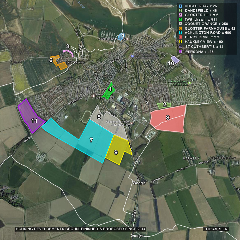 July2018 map of Amble housing plans