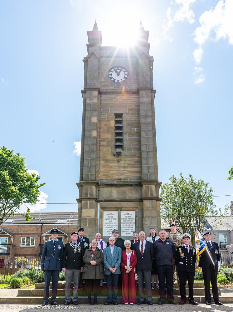 group at Amble clock memorial AM