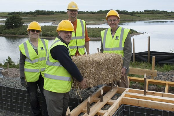 Foundation bale is placed at Hauxley's eco visitor centre