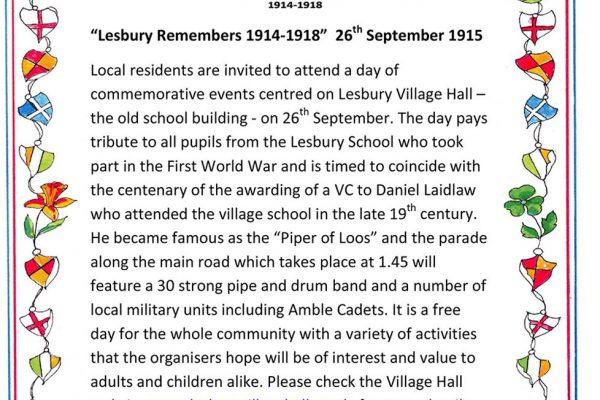 Lesbury Remembers: WW1 commemoration