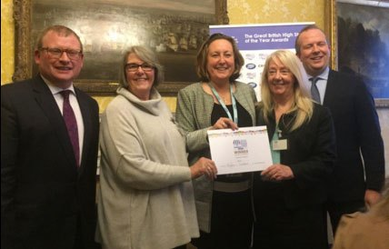 Receiving 'Best Coastal High Street' award
