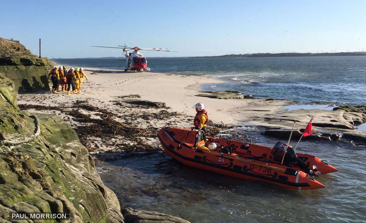 lifeboat and helicopter on Coquet Island PM